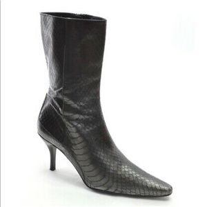 Cole Haan Black Snakeskin Boots 5.5 B